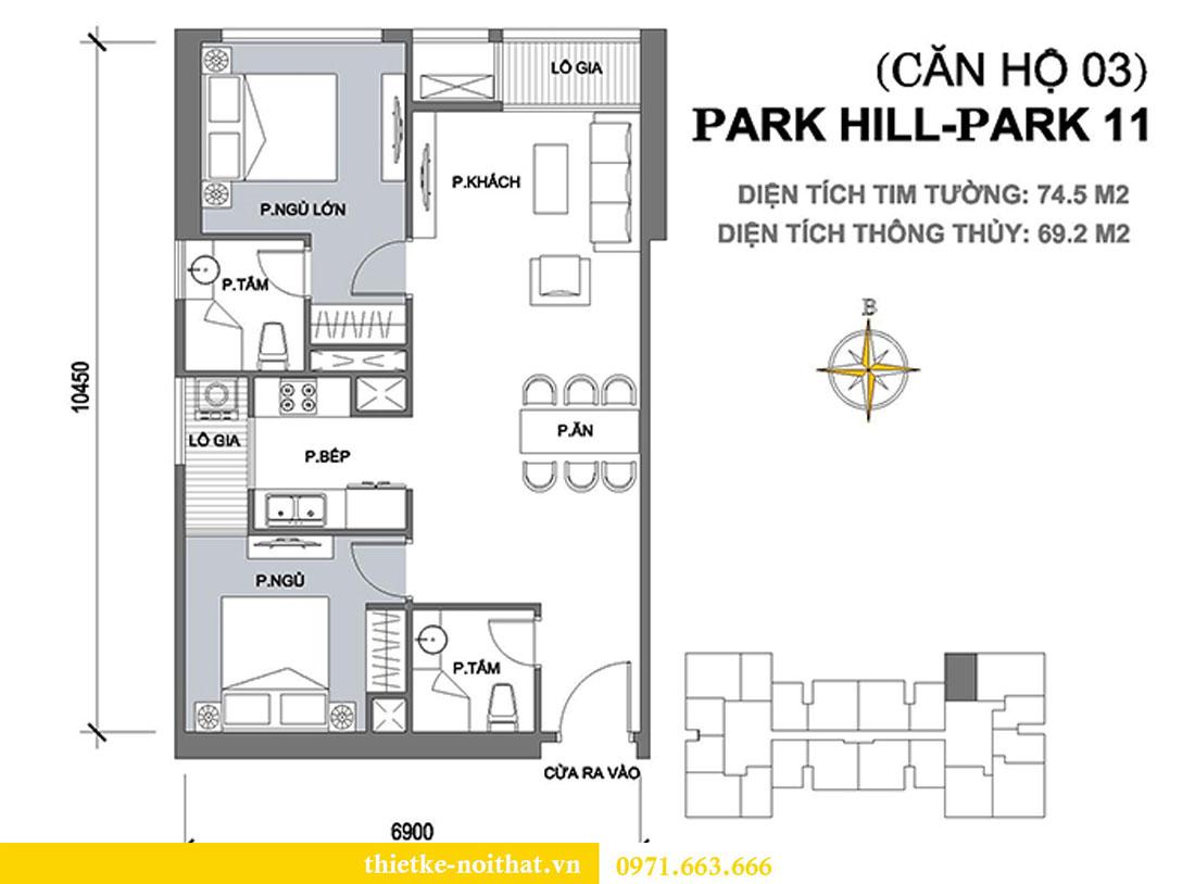 Mặt bằng thi công nội thất chung cư Park Hill căn 03 park 11 gia đình chị Tuyết