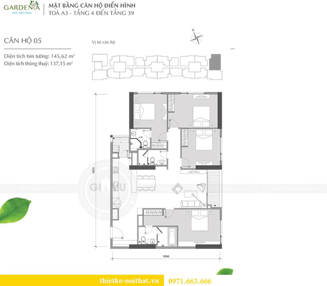 Mặt bằng thiết kế nội thất chung cư Gardenia căn 05 tòa A3 nhà chị Hoài