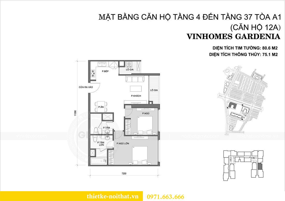 Mặt bằng thiết kế nội thất chung cư Gardenia căn 12A tòa A1 - Anh Hùng