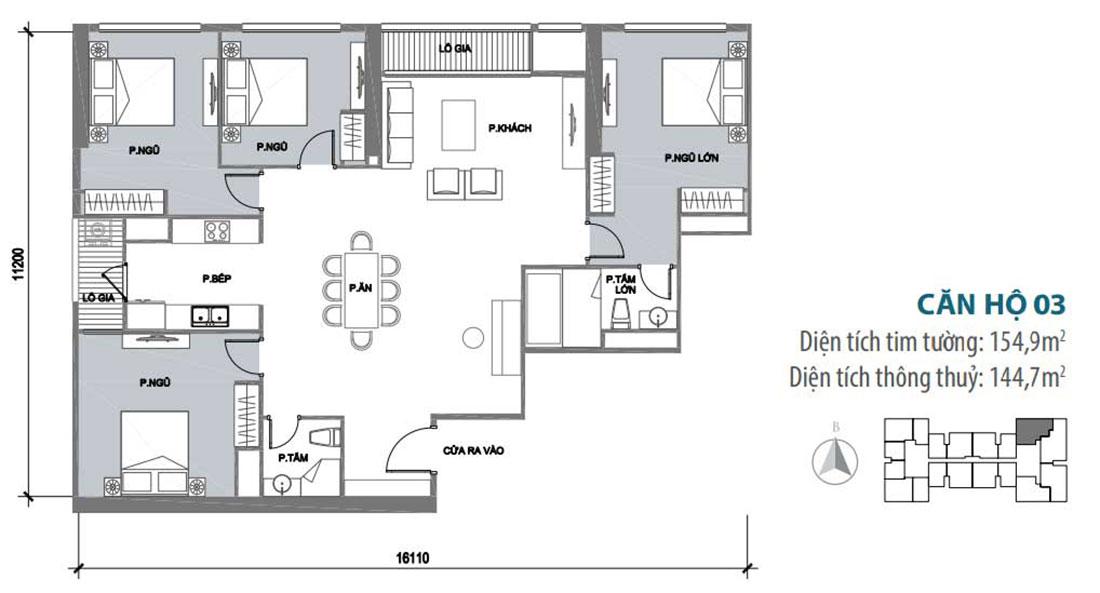 Mặt bằng thiết kế nội thất chung cư Park Hill căn 03 park 10 nhà cô Thể
