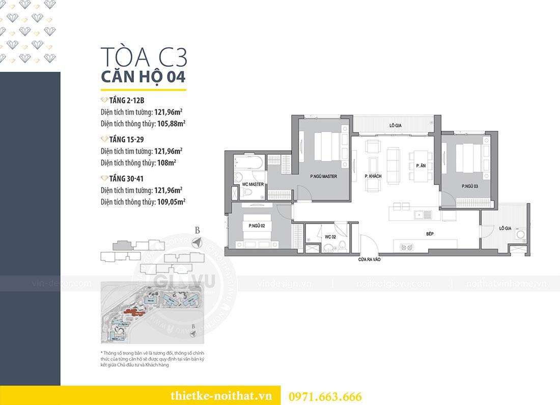 Mặt bằng thiết kế nội thất chung cư D Capitale căn 04 tòa C3