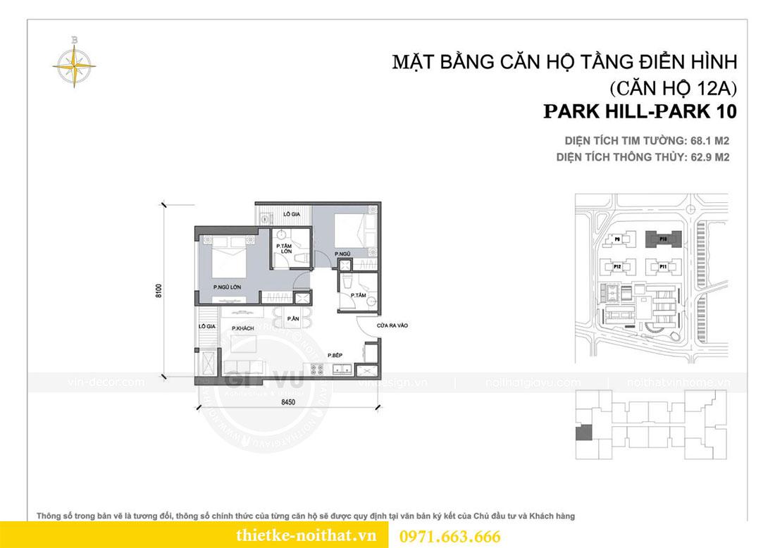 Mặt bằng thiết kế nội thất chung cư Park Hill căn 12A park 10 - Anh Hậu