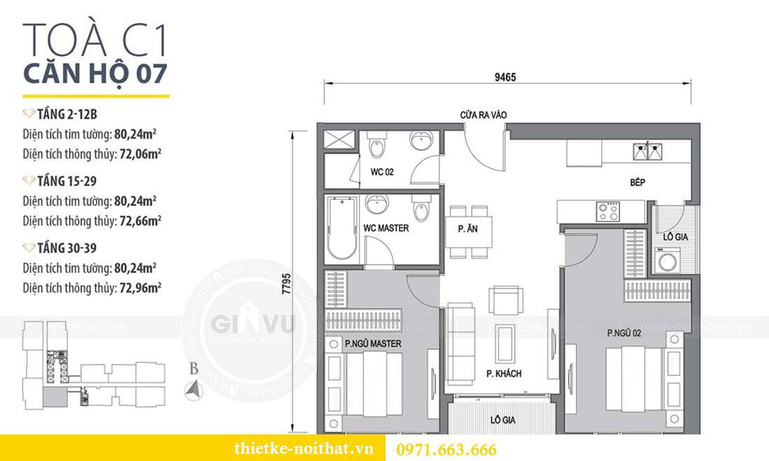 Mặt bằng thiết kế chung cư Vinhomes D Capitale căn 07 tòa C1 - Anh Khương