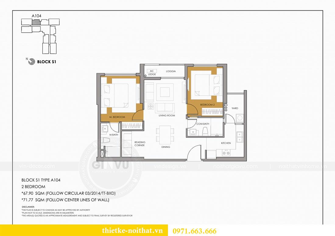 Mặt bằng thiết kế nội thất chung cư Seasons Avenue tòa S1 căn 04 - Chị Thanh