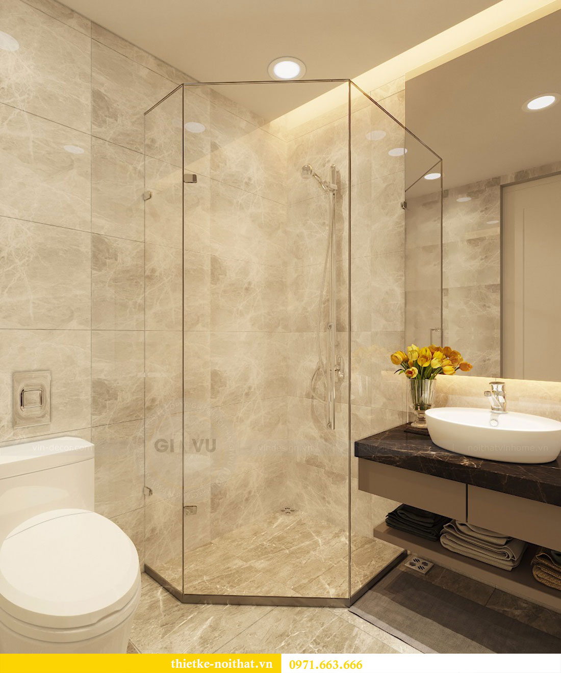 Thiết kế nội thất chung cư Seasons Avenue tòa S1 căn 04 - Chị Thanh 11.