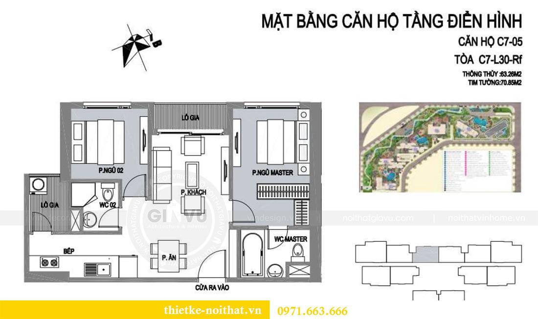 Mặt bằng thiết kế nội thất căn hộ chung cư căn 05 tòa C7