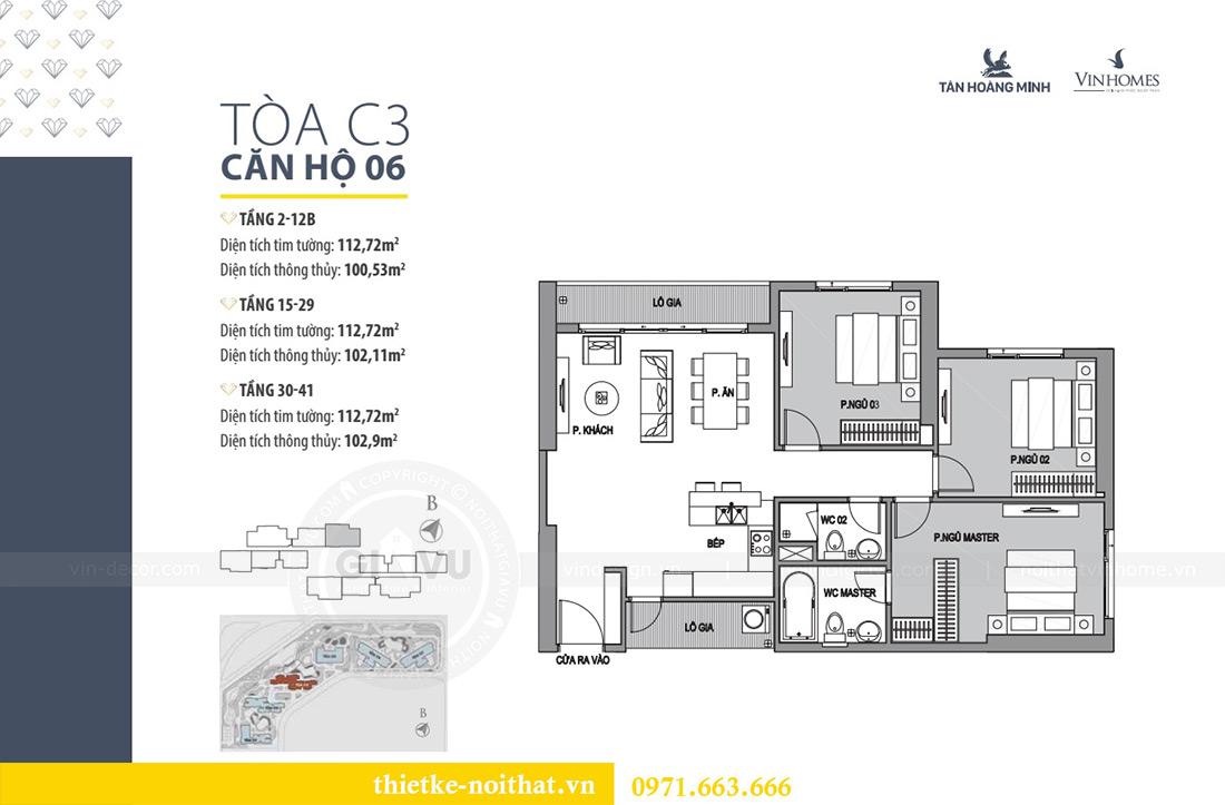 Mặt bằng thiết kế nội thất căn hộ chung cư dcapitale tòa C3 căn 06 - Chị Mai