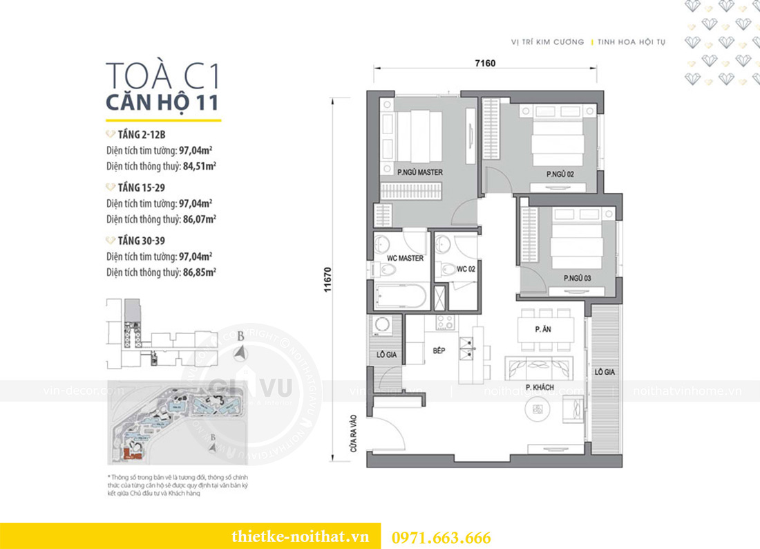 Mặt bằng thiết kế nội thất căn hộ Vinhomes Dcapitale căn 11 tòa C1 - Anh Khánh