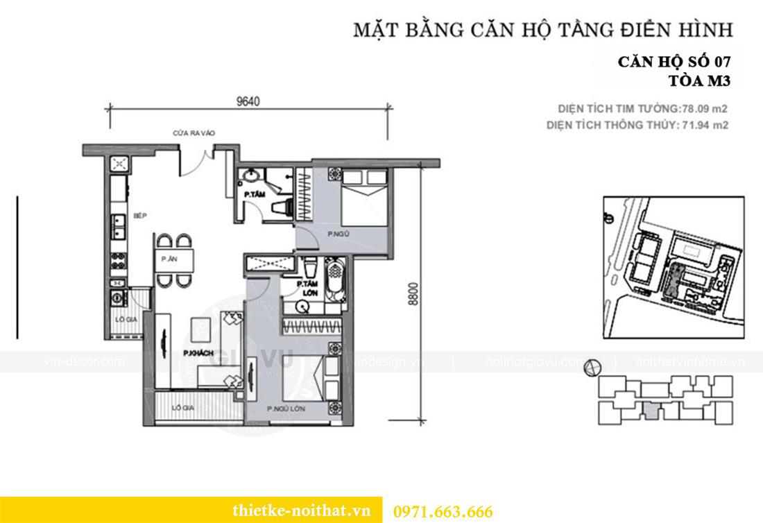 Mặt bằng thiết kế nội thất căn hộ Vinhomes Metropolis tòa M3 căn 07 - Anh Lĩnh