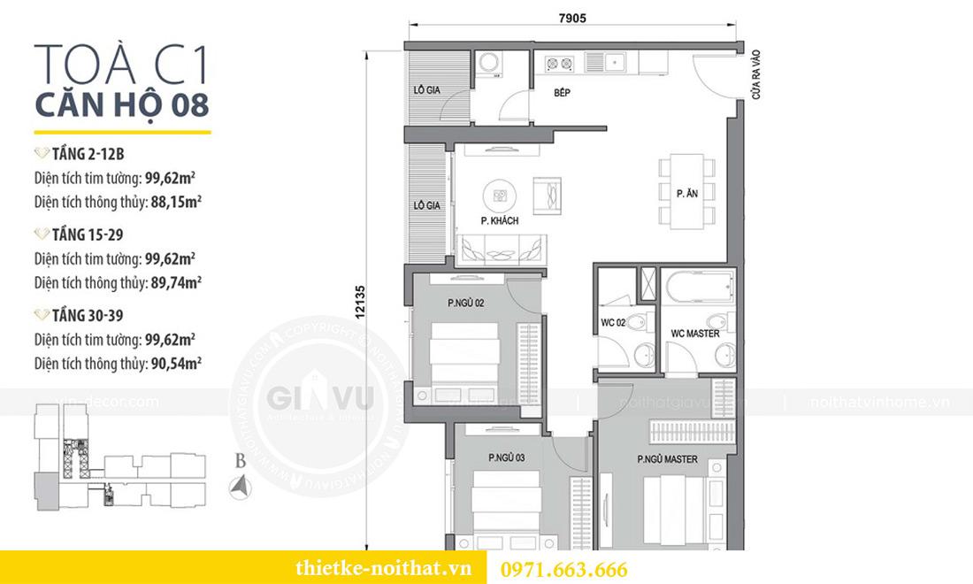 Mặt bằng thiết kế nội thất chung cư căn 3 ngủ tòa C1 08 Dcapitale nhà anh Thông