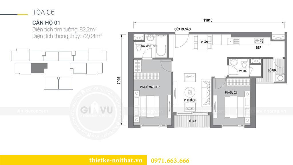 Mặt bằng thiết kế nội thất chung cư Vinhomes Dcapitale căn 01 tòa C6 - chị Liên.