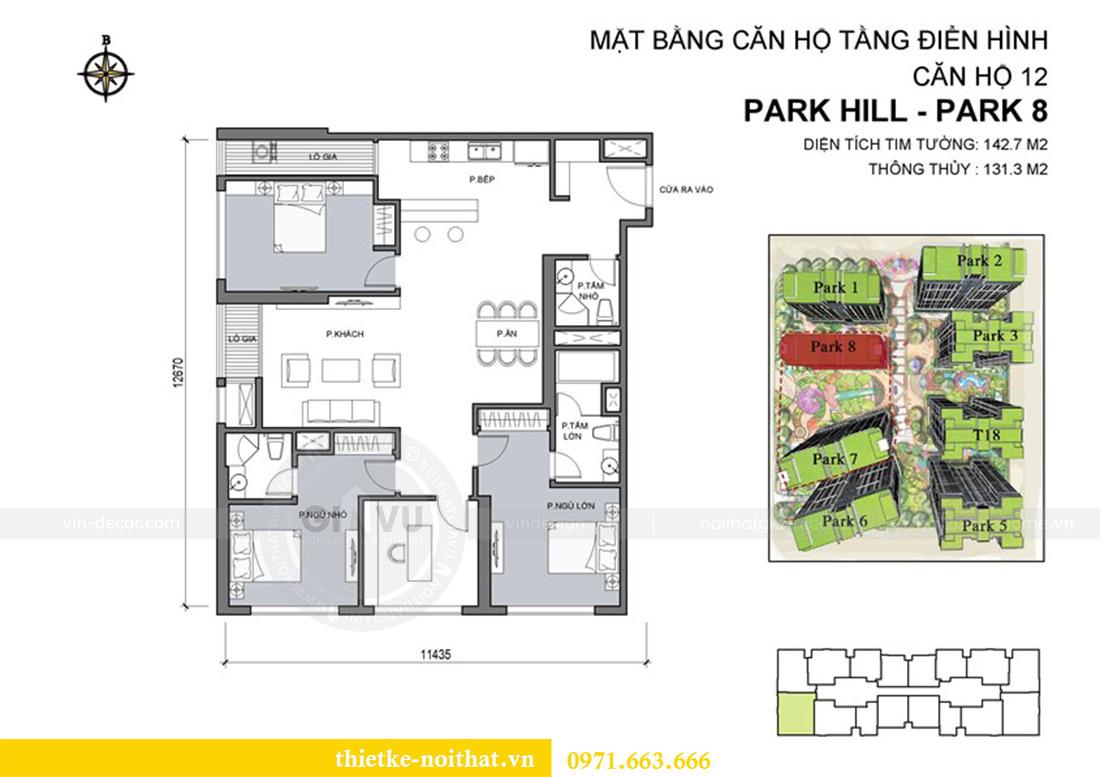 Mặt bằng thi công nội thất căn hộ chung cư Park Hill 8 - 0912 nhà anh Toàn