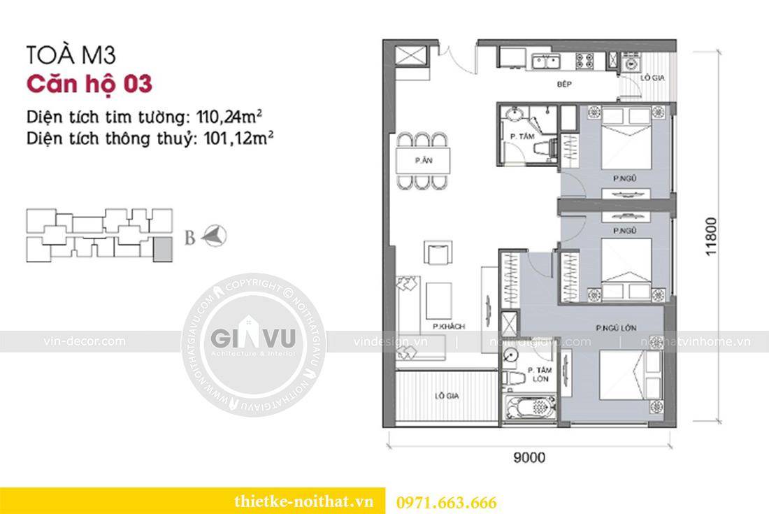 Mặt bằng thiết kế chung cư Vinhomes Metropolis tòa M3 căn 03 - chị Lan Anh