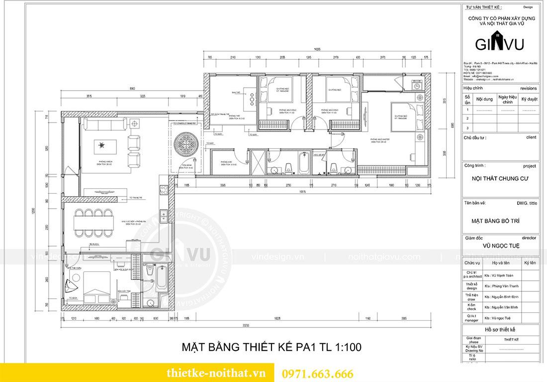 Mặt bằng thiết kế nội thất chung cư Green Bay tòa G1 căn 06 - 08A chị Lan
