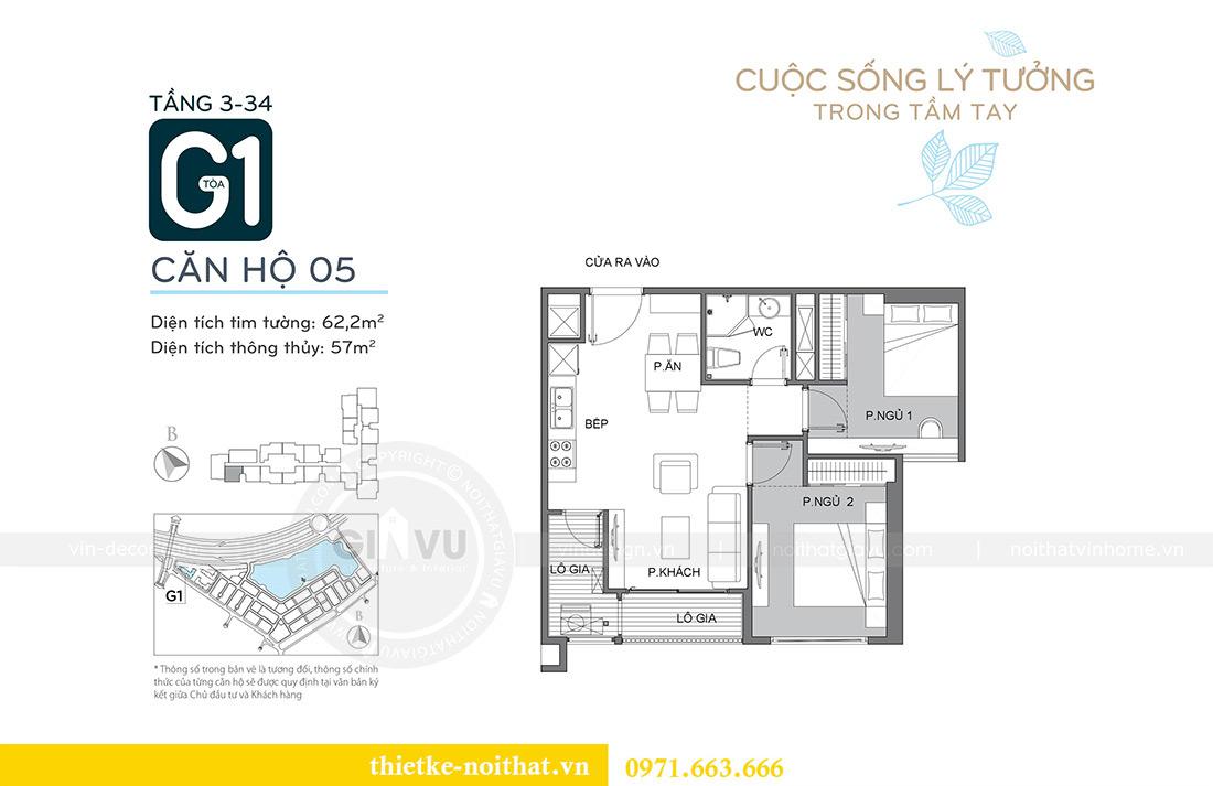 Mặt bằng thiết kế nội thất chung cư Vinhomes Mễ Trì căn 05 tòa G1 chị Lan