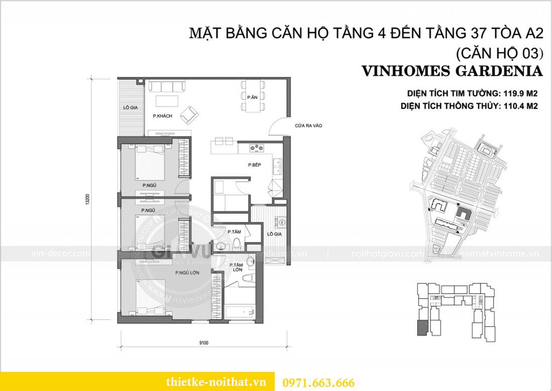 Mặt bằng thiết kế nội thất chung cư Gardenia tòa A2 căn 03 - anh Hưởng