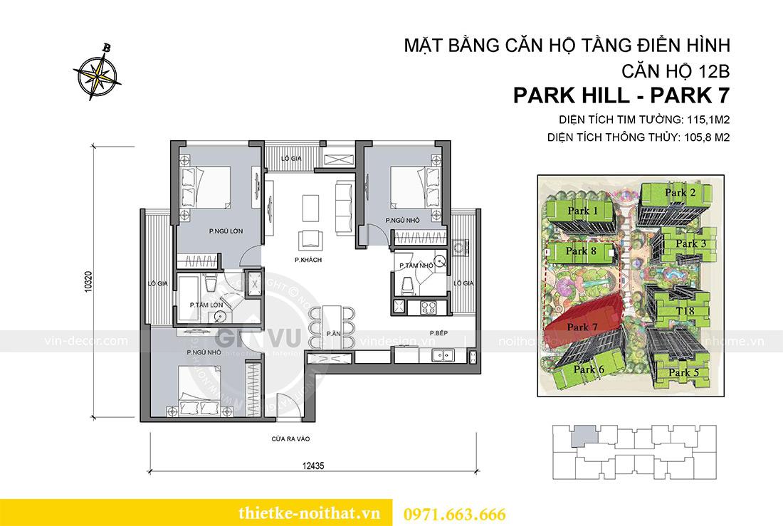 Mặt bằng thiết kế nội thất chung cư Park 7 căn 12B nhà anh Tân