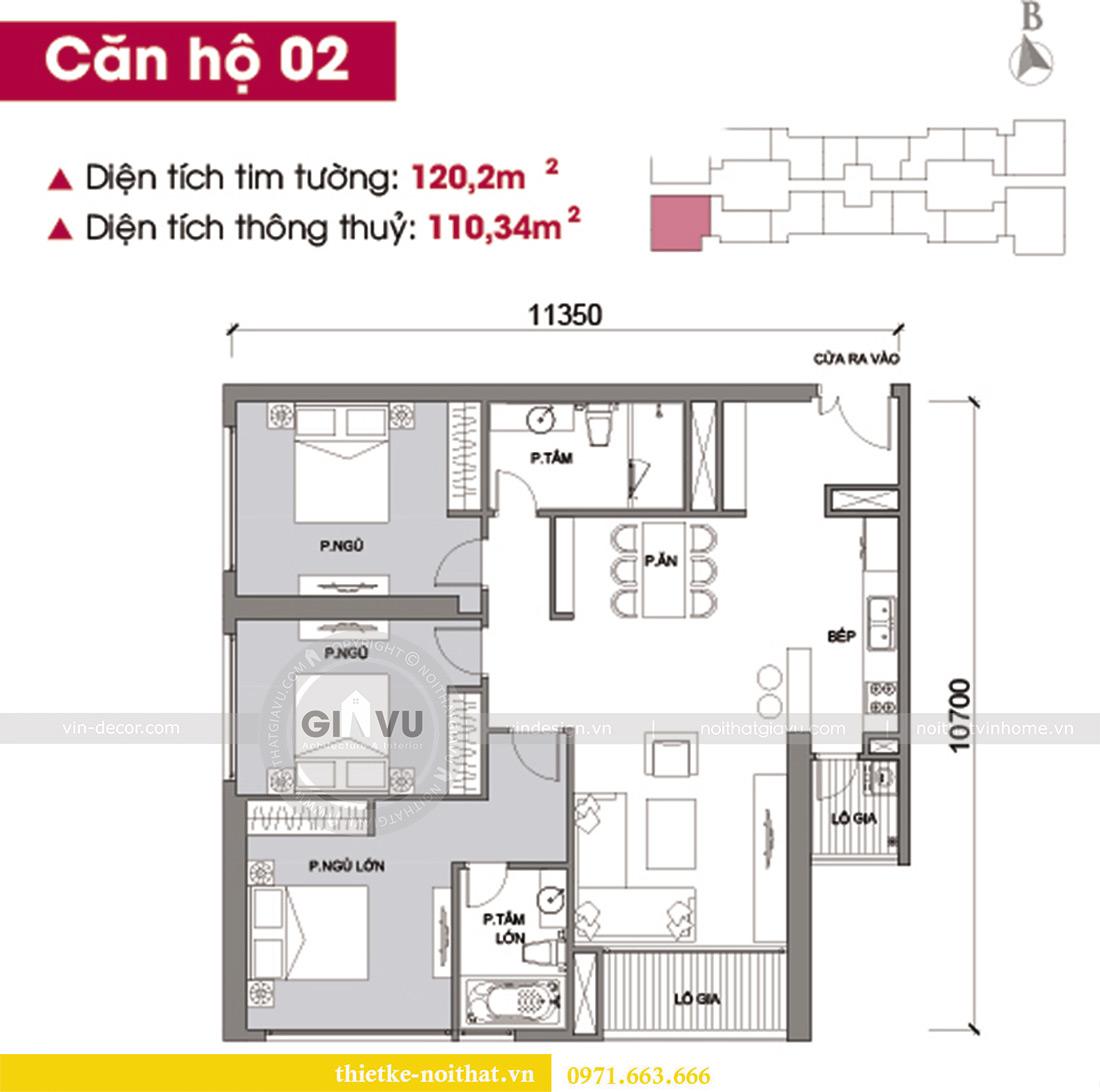 Mặt bằng thiết kế nội thất chung cư Vinhomes Metropolis tòa M2 căn 02 - chú Bình