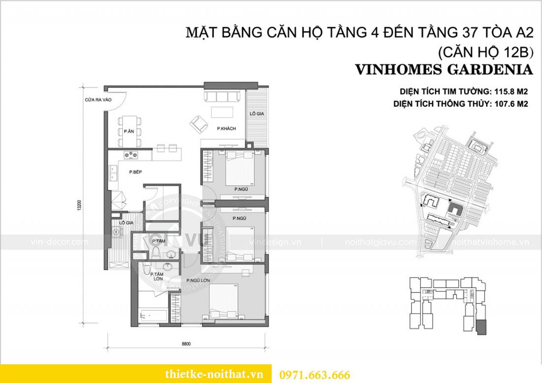 Mặt bằng thiết kế thi công nội thất chung cư Gardenia căn 12B tòa A2 - chị Hà