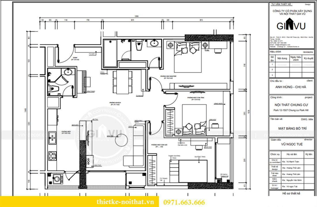 Mặt bằng thiết kế thi công nội thất chung cư Park Hill 12 căn 07 nhà anh Hùng