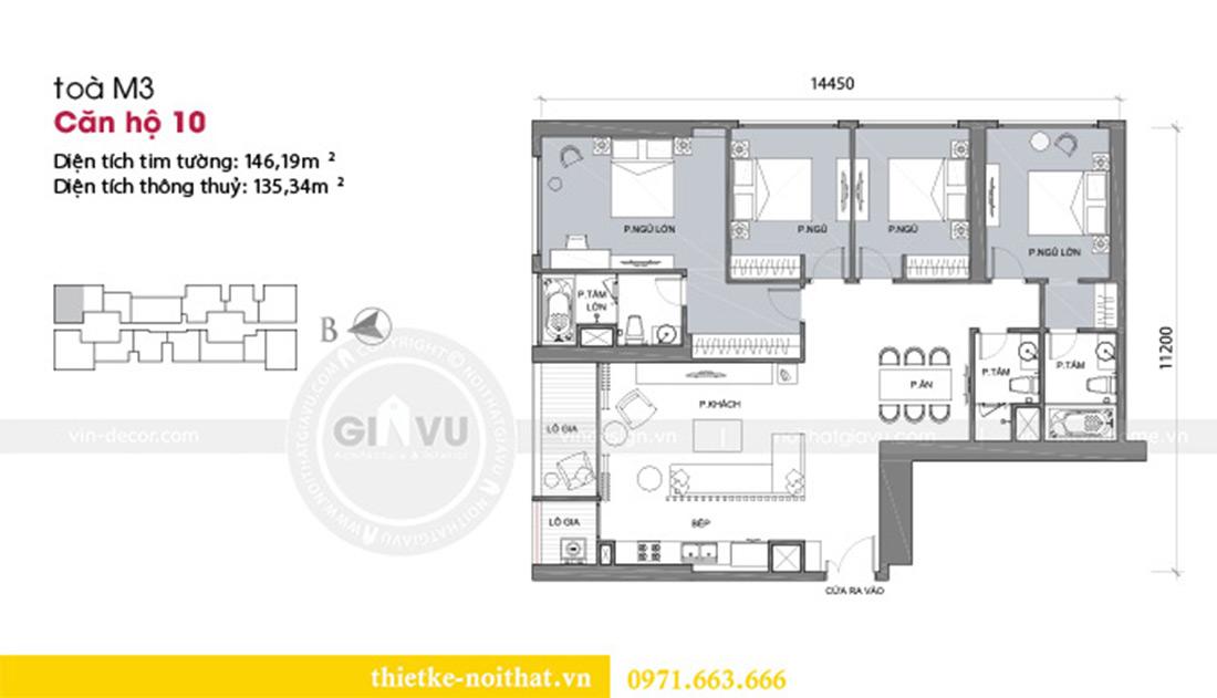 Mặt bằng thiết kế nội thất chung cư Metropolis tòa M3 10 nhà cô Liễu