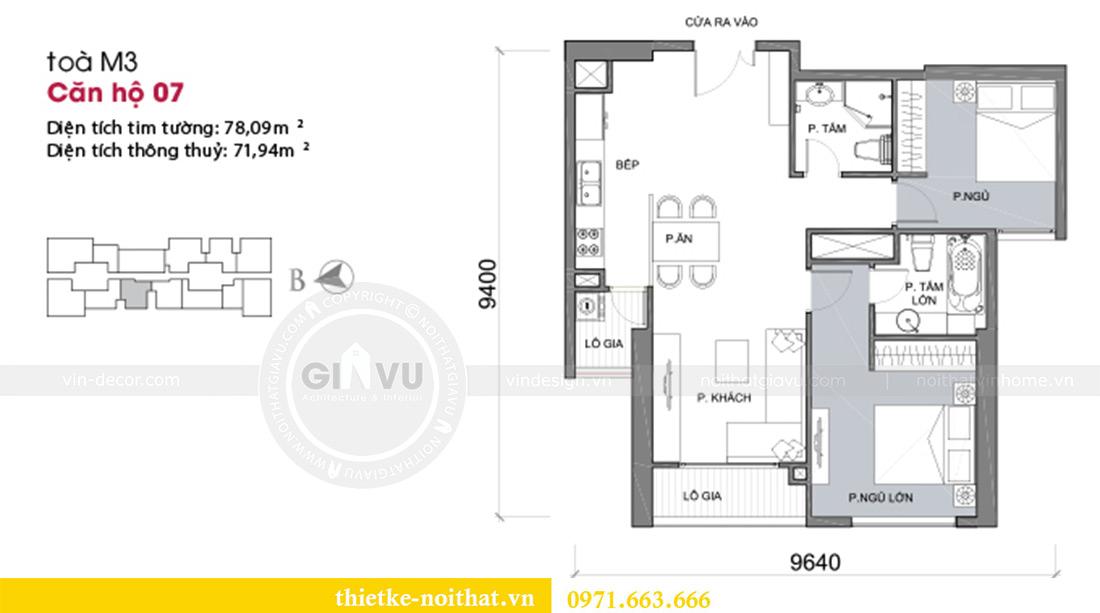 Mặt bằng thiết kế nội thất Vinhomes Metropolis Liễu Giai tòa M3 căn 07 - chị Thương