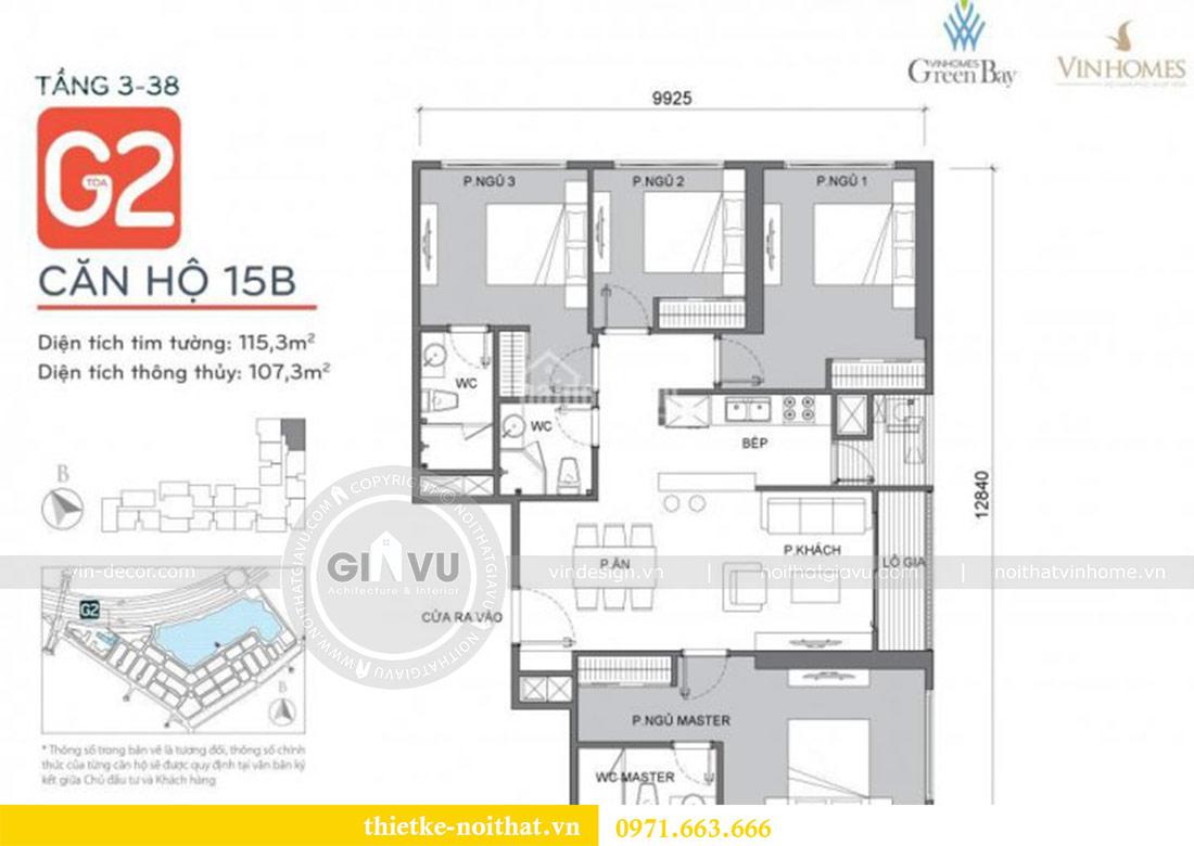 Mặt bằng mẫu thiết kế nội thất chung cư Vinhomes Green Bay Mễ Trì