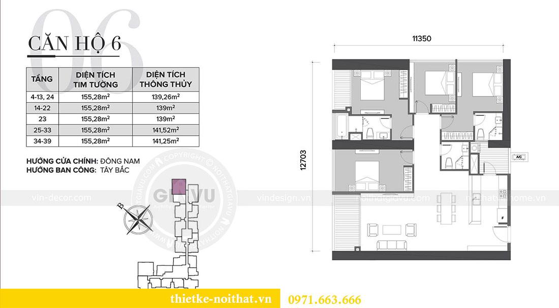 Mặt bằng thiết kế nội thất căn hộ Sky Lake tòa S2 căn 06 - anh Nam