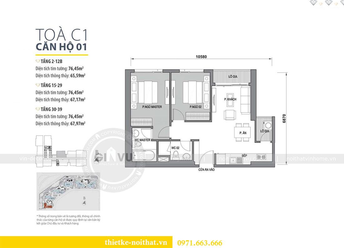 Mặt bằng thiết kế nội thất chung cư Dcapitale tòa C1 căn 01 - anh Nam