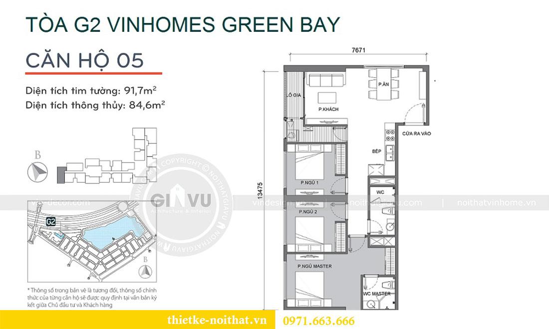 Mặt bằng thiết kế nội thất Green Bay tòa G2 căn 05 - chị Trang