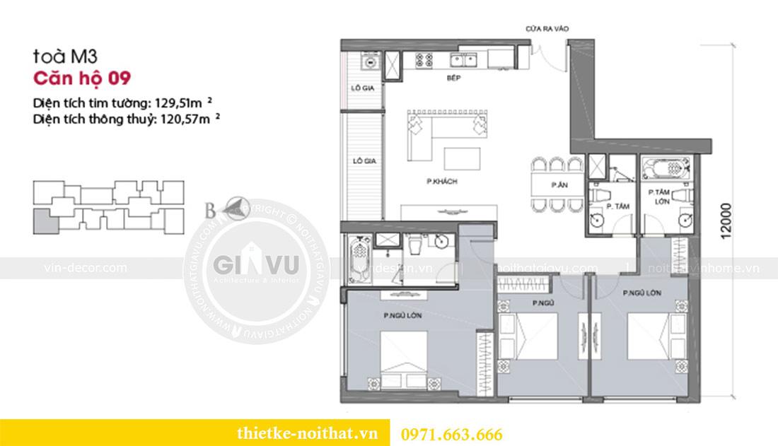 Mặt bằng thiết kế thi công nội thất căn hộ Metropolis tòa M3 09 - chú Hiệp