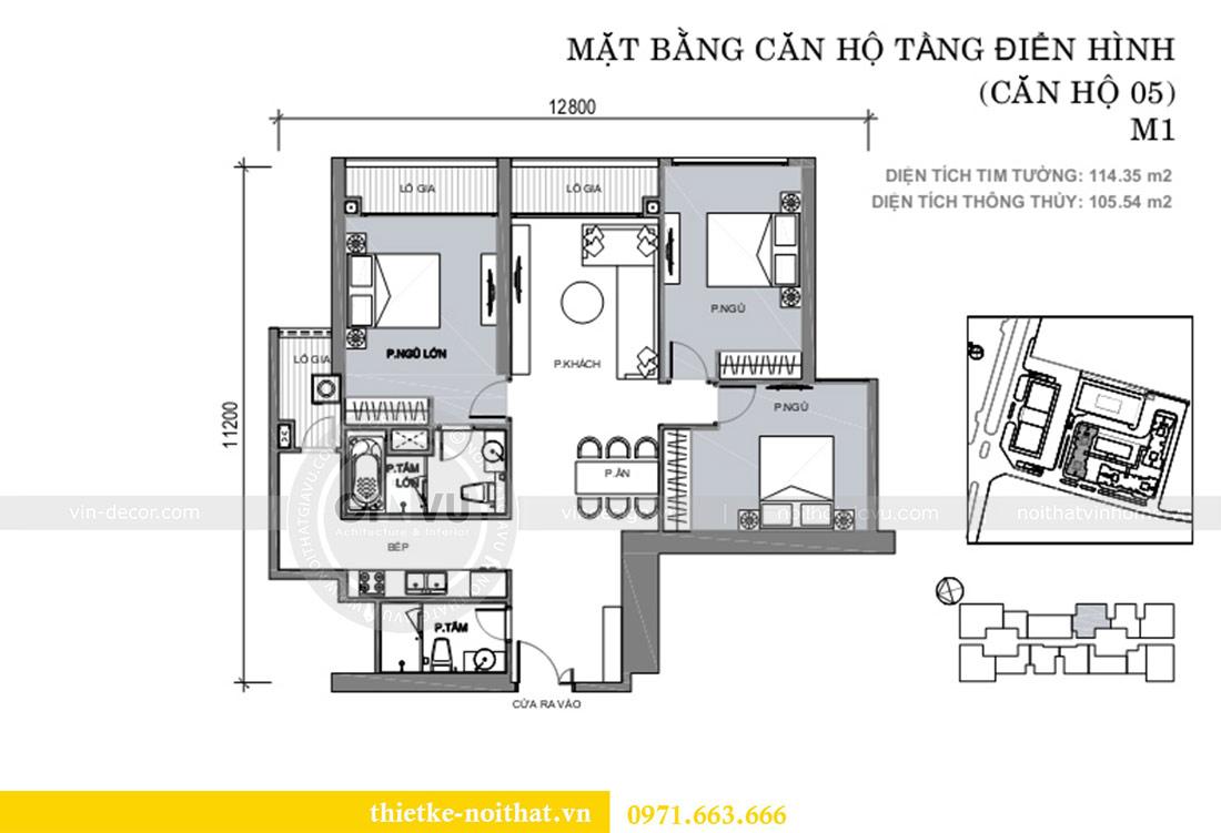 Mặt bằng thiết kế nội thất chung cư 29 Liễu Giai tòa M1 căn 05 - chị Lan