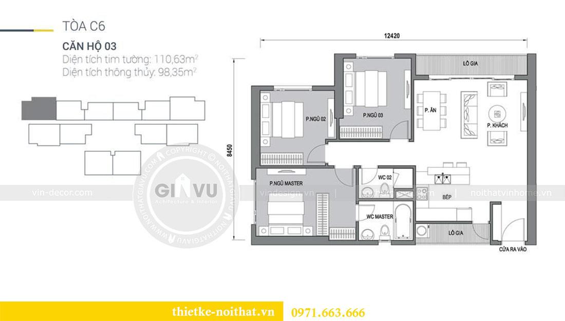 Mặt bằng thiết kế nội thất chung cư Dcapitale tòa C6 căn 03 - chị Hà