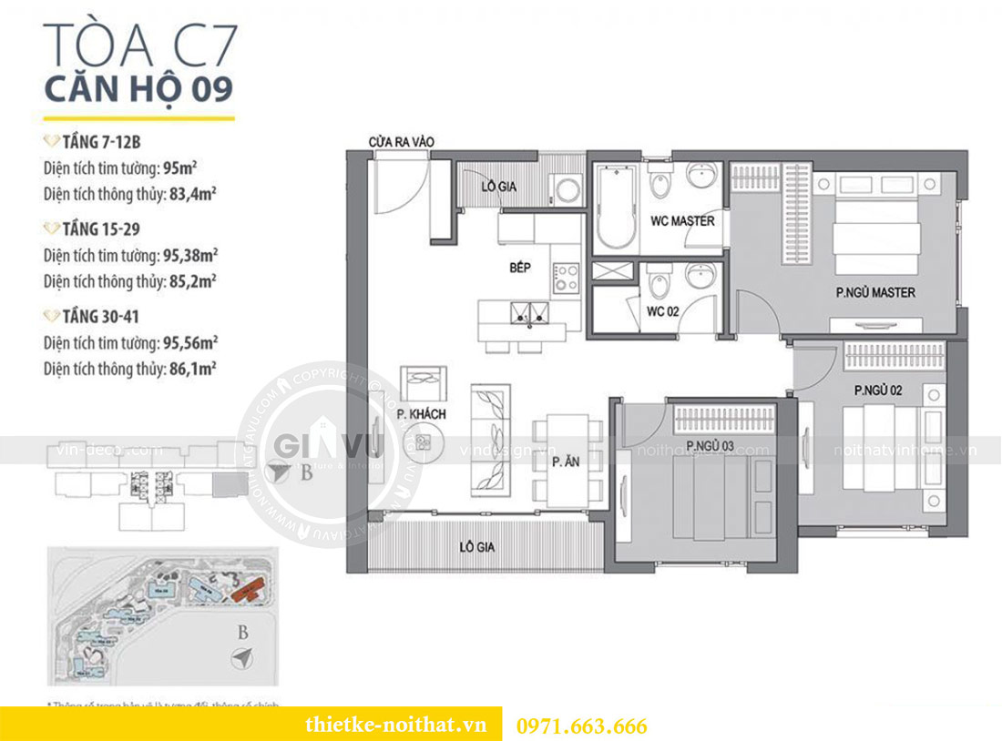 Mặt bằng thiết kế nội thất căn 09 tòa C7 chung cư Dcapitale - chị Minh