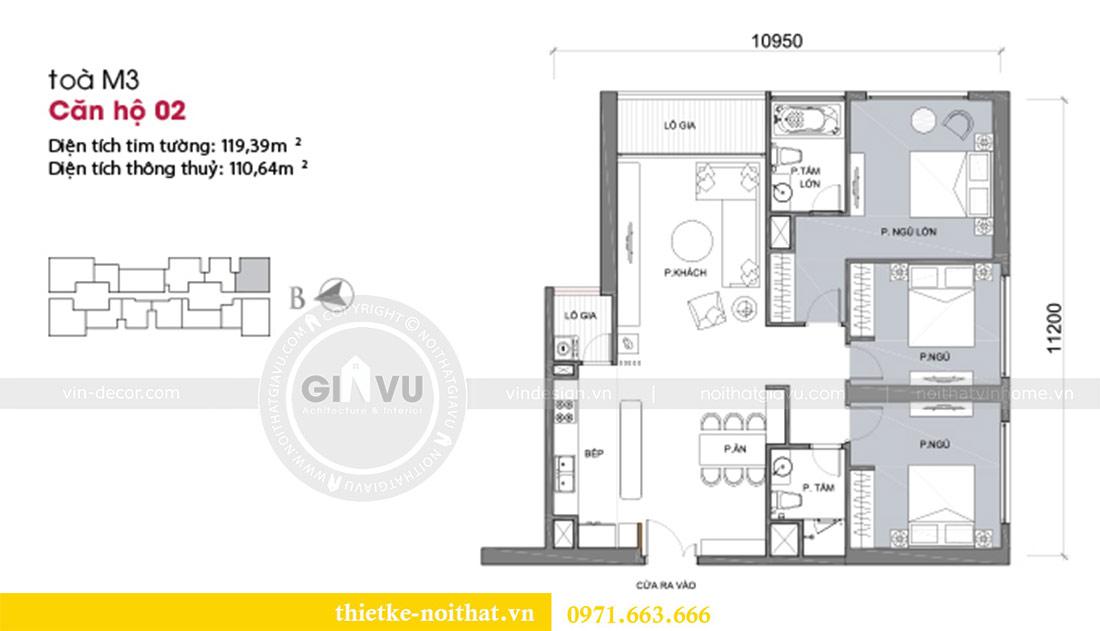Mặt bằng thiết kế nội thất căn hộ Vinhomes Liễu Giai tòa M3 căn 02 - chị Thơm