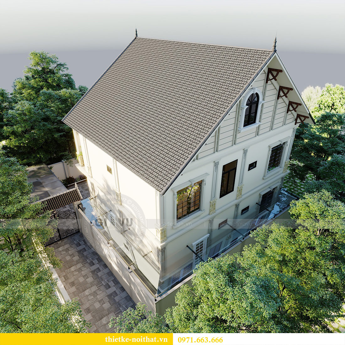 Thiết kế kiến trúc biệt thự An Dương Tây Hồ nhà chú Đức 6