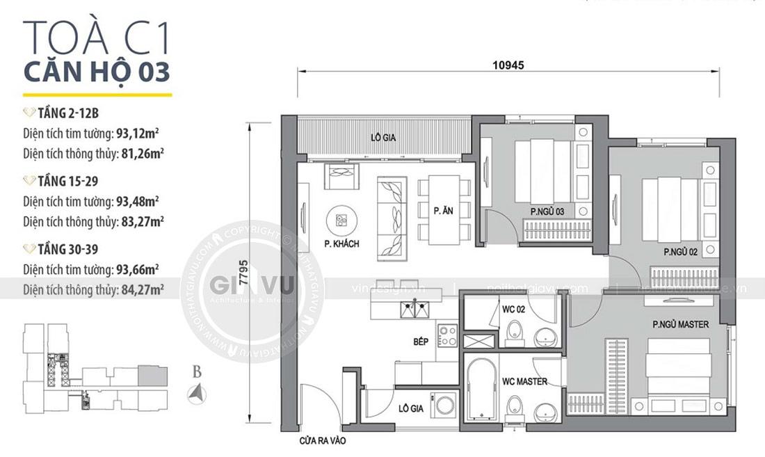 Mặt bằng thiết kế nội thất chung cư 2 phòng ngủ tòa C1 căn 03 - cô Lan Quế
