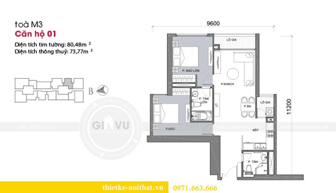 Mặt bằng thiết kế nội thất chung cư 74m2 tòa M3 căn 01 Vinhomes Metropolis
