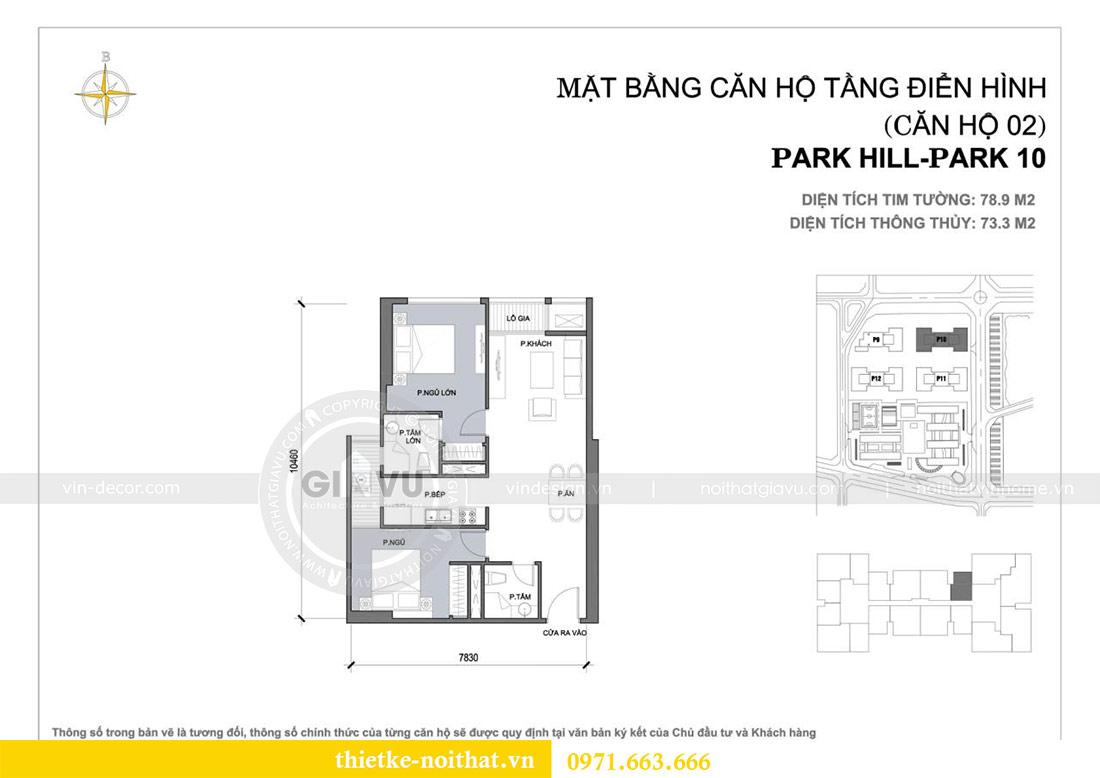 Mặt bằng thiết kế nội thất chung cư Park Hill 10 căn 02 - anh Tâm