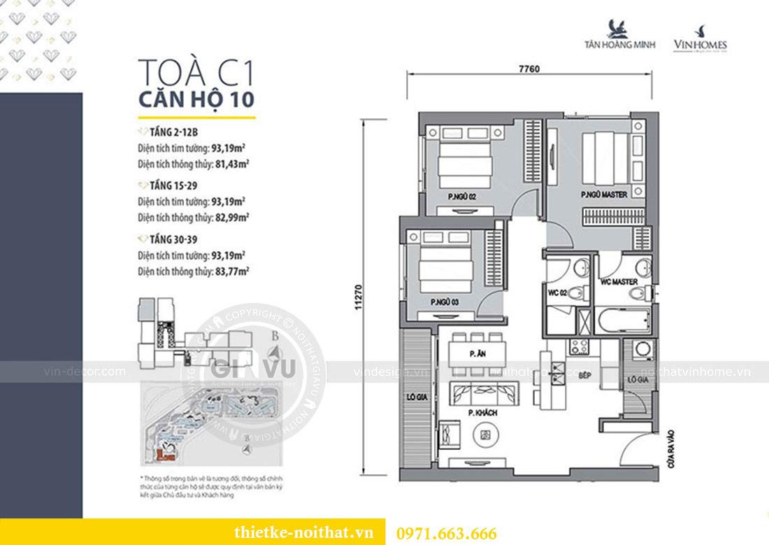 Mặt bằng thiết kế thi công căn hộ chung cư Dcapitale tòa C1 căn 10 - chị Nguyệt