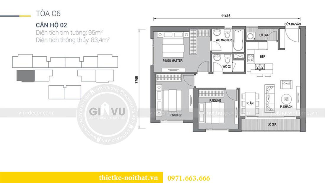 Mặt bằng thiết kế nội thất căn hộ Dcapitale tòa C6 căn 02 - anh Chiến