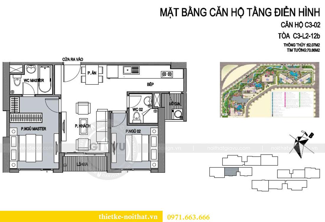 Mặt bằng thiết kế nội thất chung cư cao cấp tòa C3 căn 02 - cô Lệ