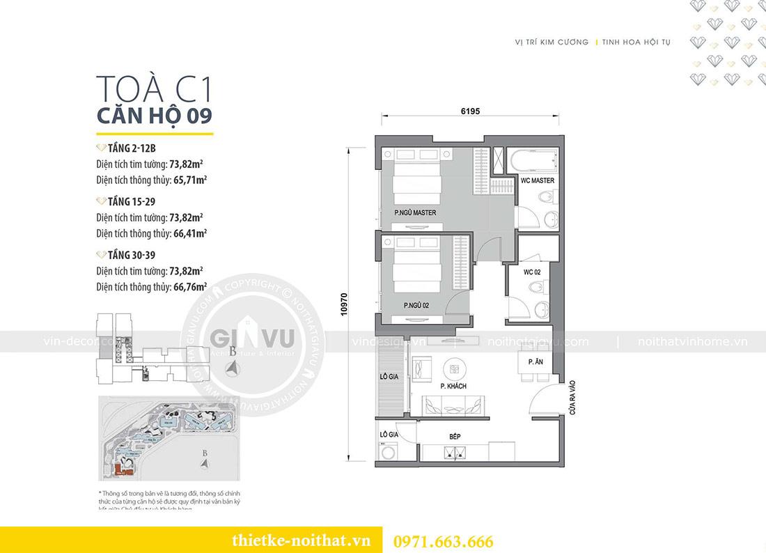 Mặt bằng thiết kế nội thất chung cư tại Dcapitale tòa C109 - chị Huyền