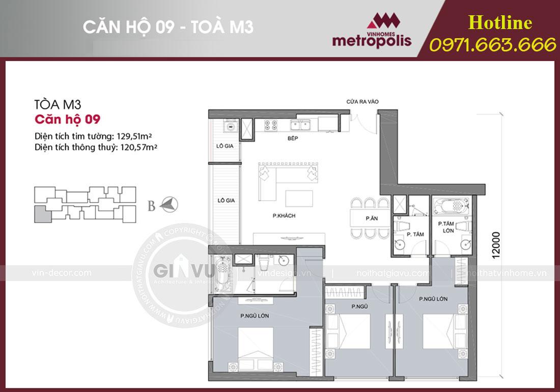 Mặt bằng thiết kế nội thất chung cư Vinhomes Metropolis phong cách tân cổ điển