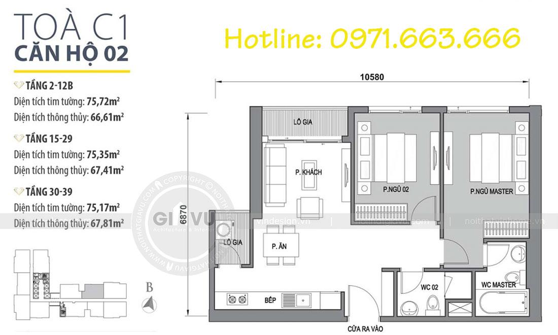 Mặt bằng thiết kế nội thất Vinhomes Dcapitale căn 2 phòng ngủ - chị Hiên