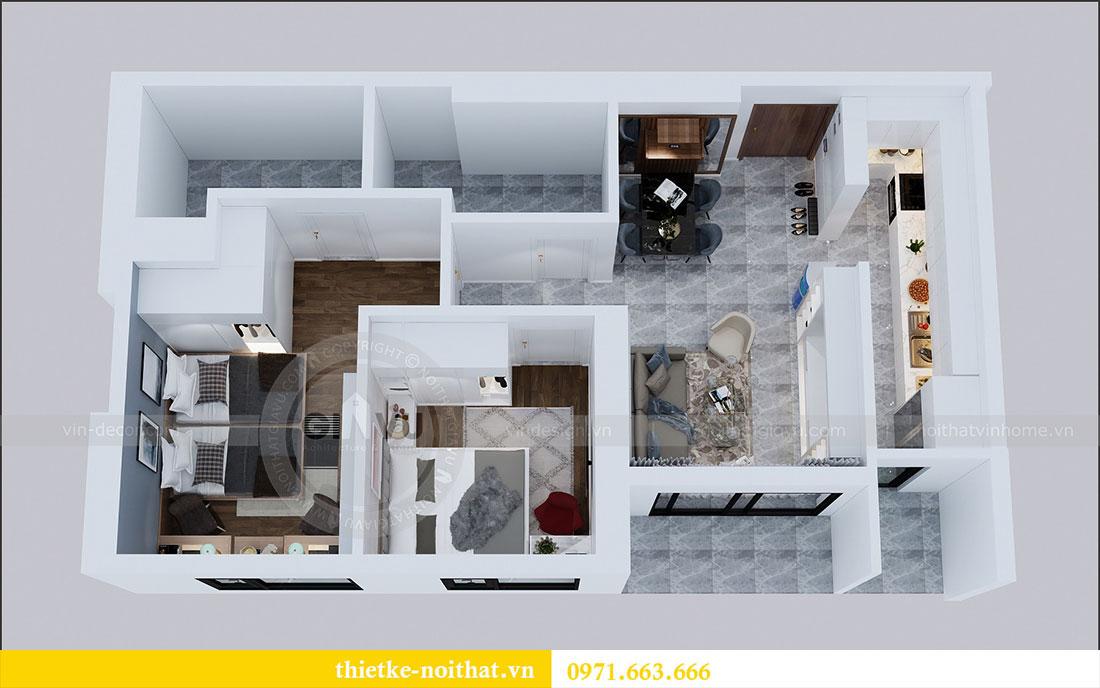 Mặt bằng thiết kế nội thất chung cư 2 ngủ tại Dcapitale - chị Hoa