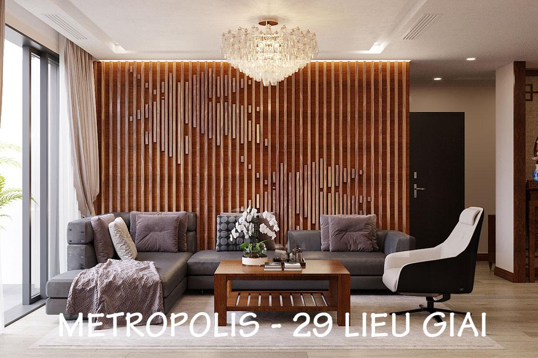 Thiết kế nội thất chung cư Metropolis căn 3 ngủ đẹp với gỗ Hương