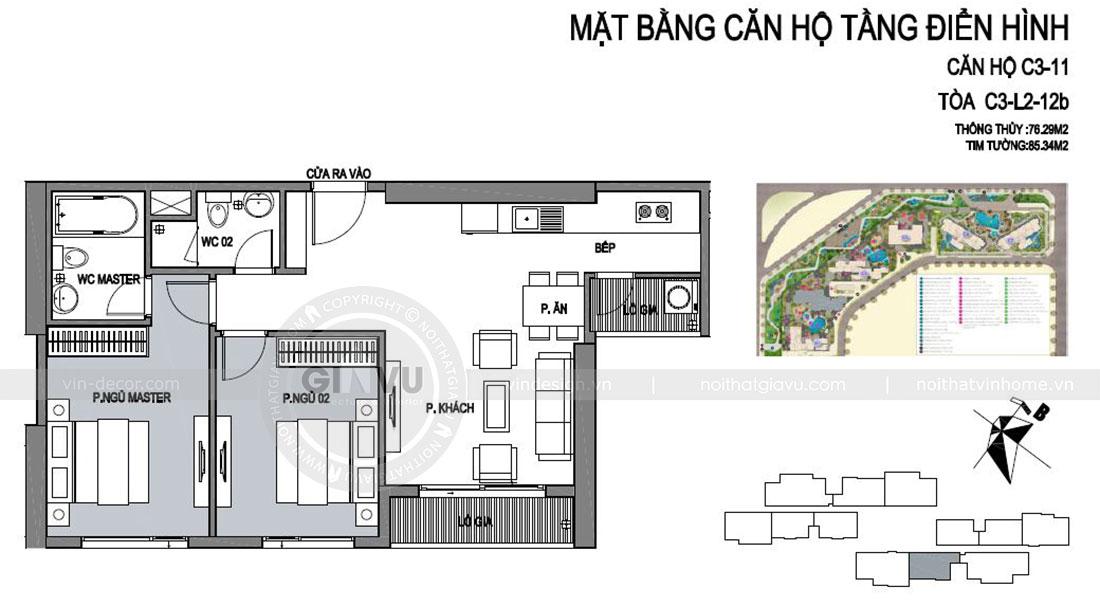 Mặt bằng bố trí triển khai thi công nội thất căn hộ chung cư tại Vinhomes Dcapitale