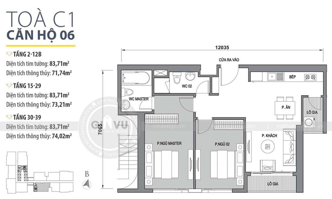 Mặt bằng nội thất chung cư Vinhomes Dcapitale phong cách hiện đại - chị Hằng