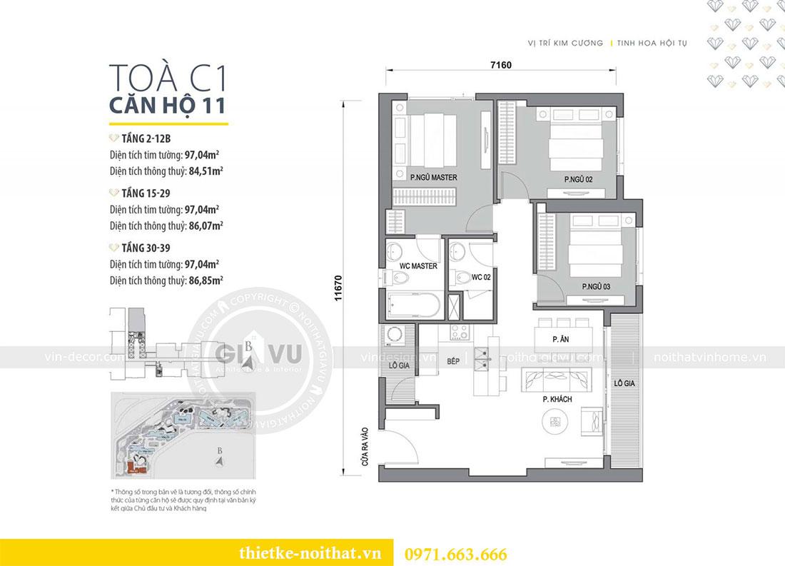 Mặt bằng thiết kế nội thất căn hộ chung cư 85m2 tại dự án Dcapitale